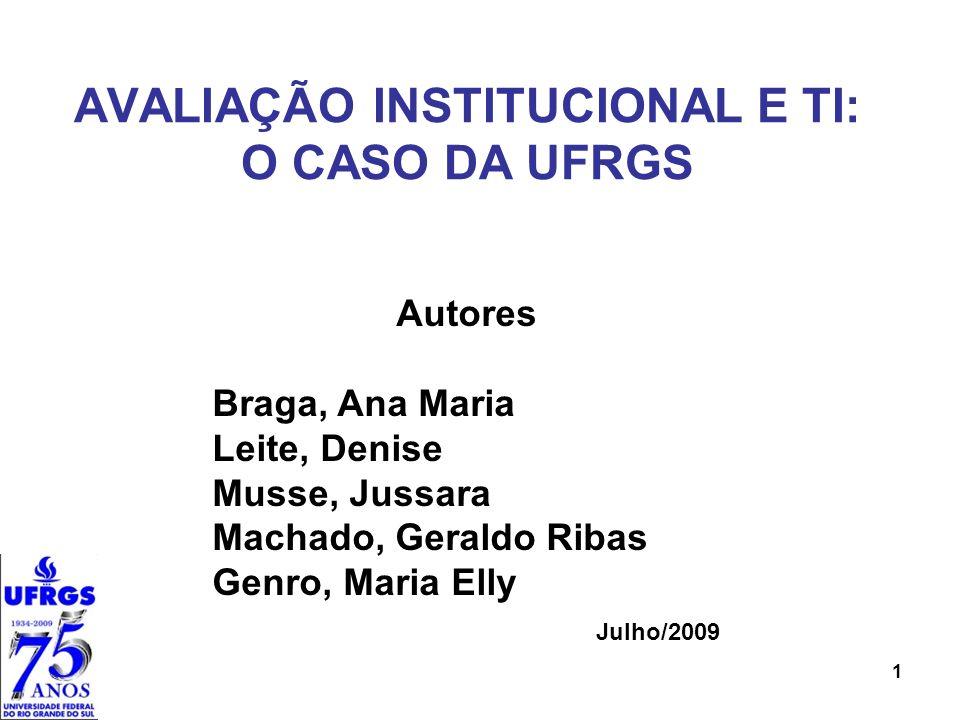 Histórico 1895 Escolas Profissionais e de Educação Superior 1934 Universidade de Porto Alegre – UPA, sob a tutela do Estado do RS 1947 Universidade do Rio Grande do Sul – URGS 1950 Universidade Federal do Rio Grande do Sul – UFRGS, sob a tutela da União 2