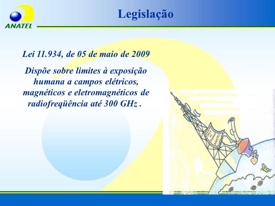 Lei 11.934, de 05 de maio de 2009 Dispõe sobre limites à exposição humana a campos elétricos, magnéticos e eletromagnéticos de radiofreqüência até 300