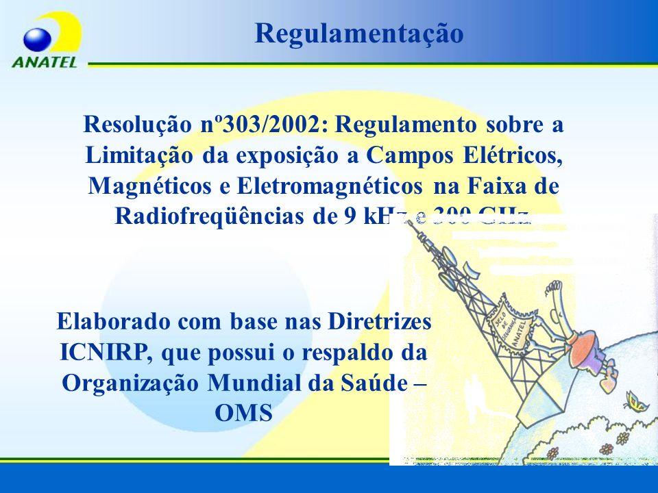 Regulamentação Resolução nº303/2002: Regulamento sobre a Limitação da exposição a Campos Elétricos, Magnéticos e Eletromagnéticos na Faixa de Radiofre