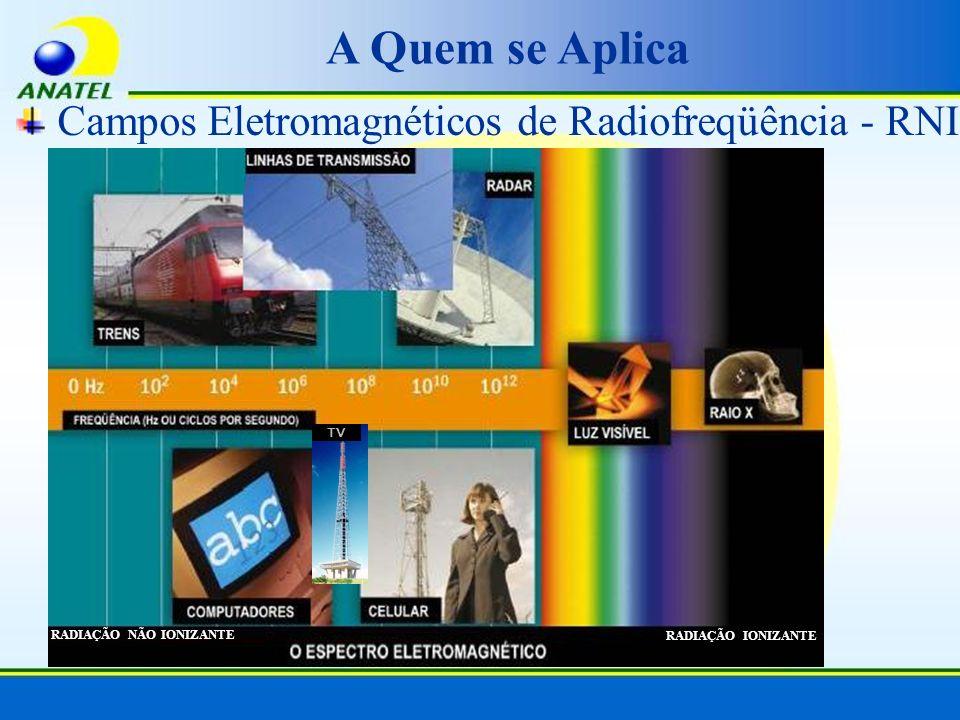 A Quem se Aplica Campos Eletromagnéticos de Radiofreqüência - RNI RADIAÇÃO NÃO IONIZANTE RADIAÇÃO IONIZANTE TV