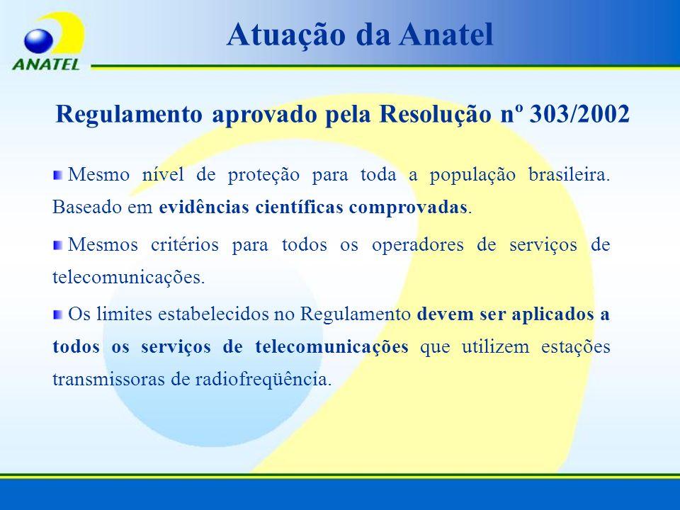 Regulamento aprovado pela Resolução nº 303/2002 Mesmo nível de proteção para toda a população brasileira. Baseado em evidências científicas comprovada