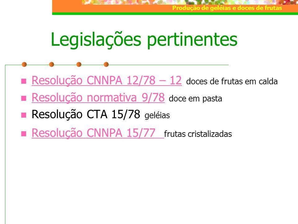 Produção de geléias e doces de frutas Legislações pertinentes Resolução CNNPA 12/78 – 12 doces de frutas em calda Resolução CNNPA 12/78 – 12 Resolução