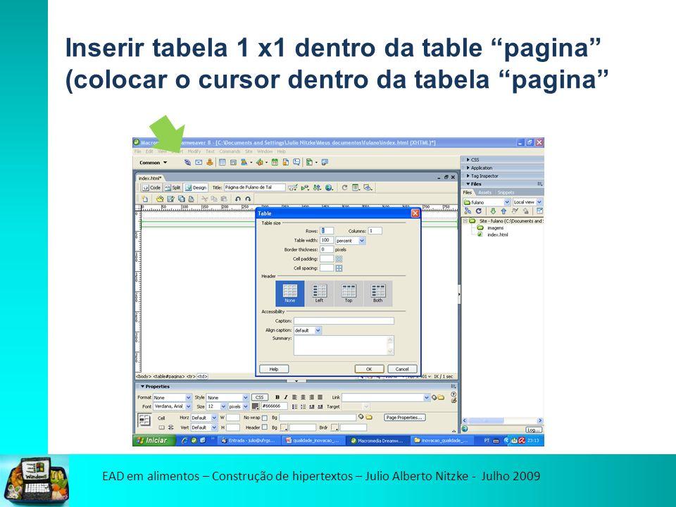 EAD em alimentos – Construção de hipertextos – Julio Alberto Nitzke - Julho 2009 Inserir tabela 1 x1 dentro da table pagina (colocar o cursor dentro da tabela pagina