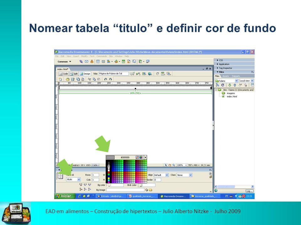 EAD em alimentos – Construção de hipertextos – Julio Alberto Nitzke - Julho 2009 Nomear tabela titulo e definir cor de fundo