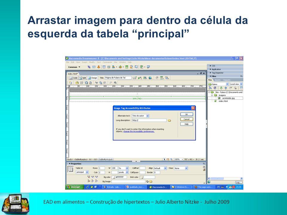 EAD em alimentos – Construção de hipertextos – Julio Alberto Nitzke - Julho 2009 Arrastar imagem para dentro da célula da esquerda da tabela principal