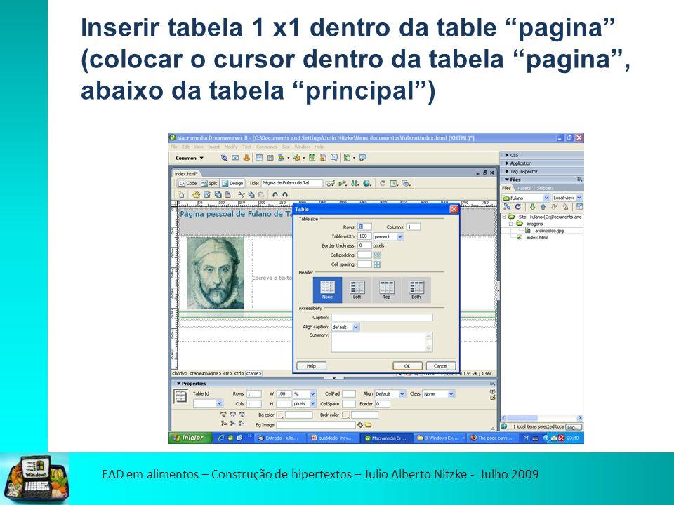 EAD em alimentos – Construção de hipertextos – Julio Alberto Nitzke - Julho 2009 Inserir tabela 1 x1 dentro da table pagina (colocar o cursor dentro da tabela pagina, abaixo da tabela principal)