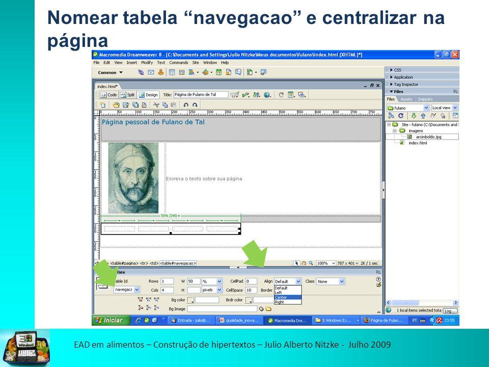 EAD em alimentos – Construção de hipertextos – Julio Alberto Nitzke - Julho 2009 Nomear tabela navegacao e centralizar na página