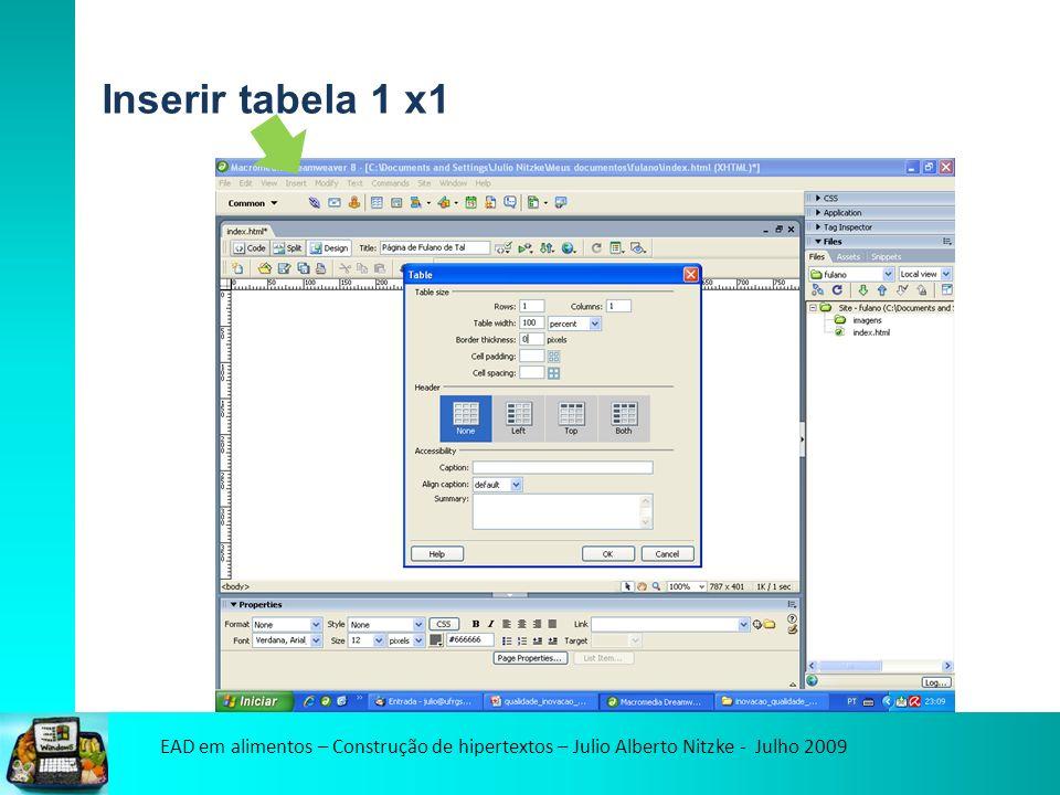 EAD em alimentos – Construção de hipertextos – Julio Alberto Nitzke - Julho 2009 Inserir tabela 1 x1