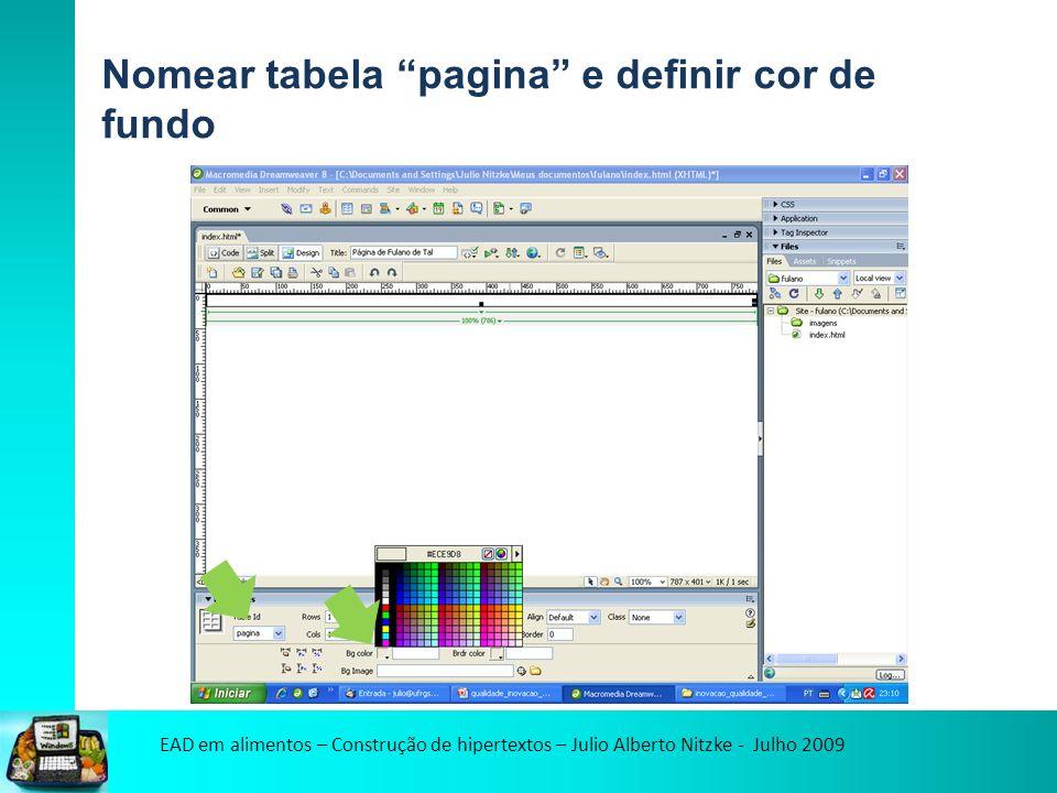 EAD em alimentos – Construção de hipertextos – Julio Alberto Nitzke - Julho 2009 Nomear tabela pagina e definir cor de fundo