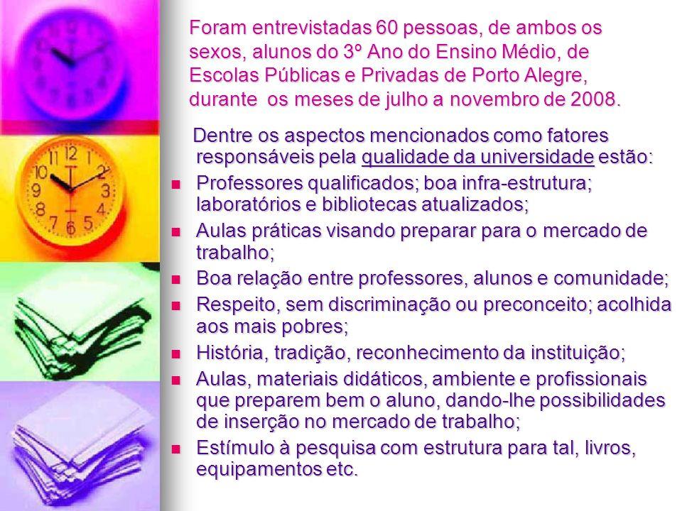 Foram entrevistadas 60 pessoas, de ambos os sexos, alunos do 3º Ano do Ensino Médio, de Escolas Públicas e Privadas de Porto Alegre, durante os meses de julho a novembro de 2008.