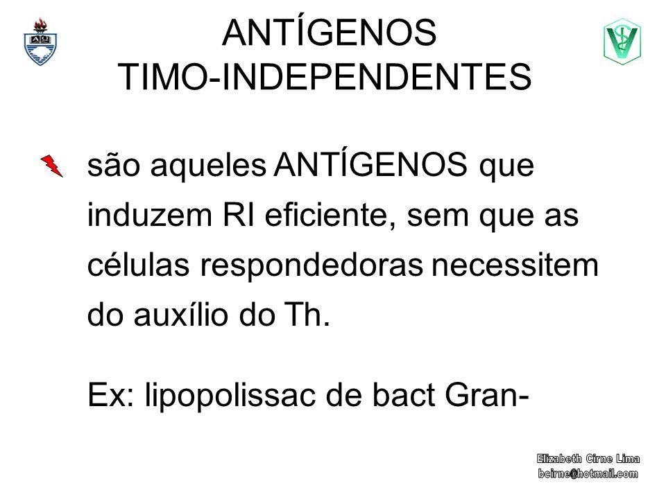ANTÍGENOS TIMO-INDEPENDENTES são aqueles ANTÍGENOS que induzem RI eficiente, sem que as células respondedoras necessitem do auxílio do Th. Ex: lipopol