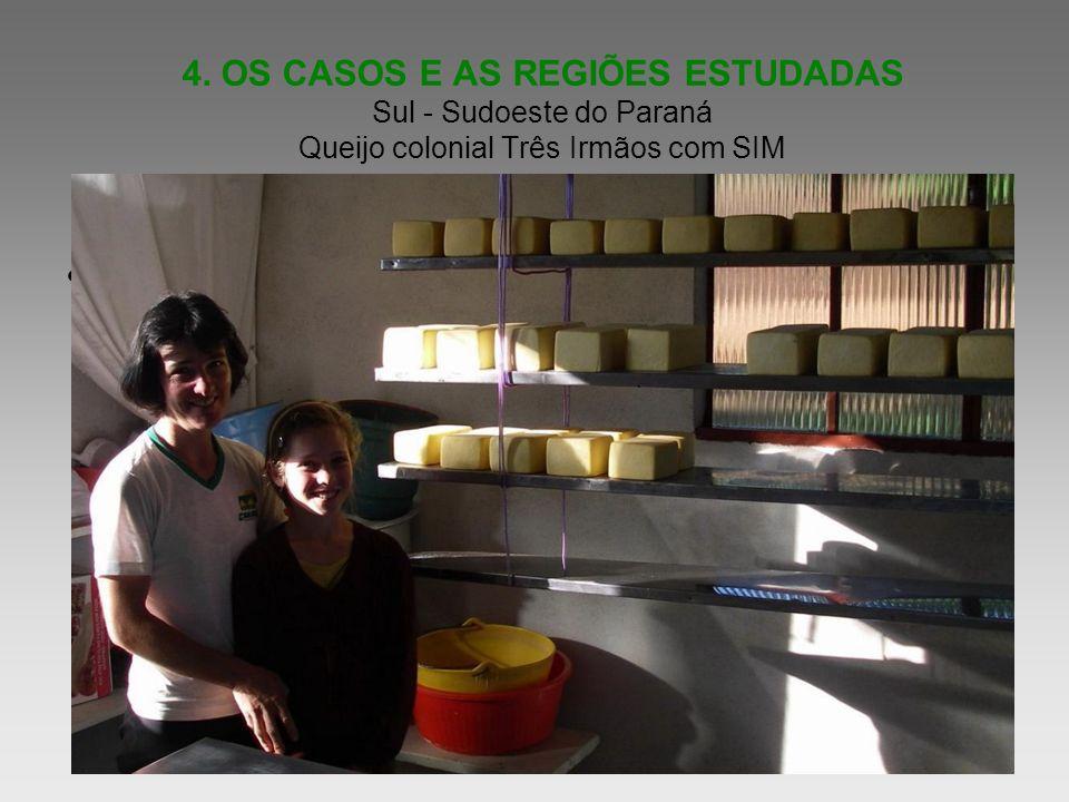 4. OS CASOS E AS REGIÕES ESTUDADAS Sul - Sudoeste do Paraná Queijo colonial Três Irmãos com SIM Informe as idéias principais de sua apresentação