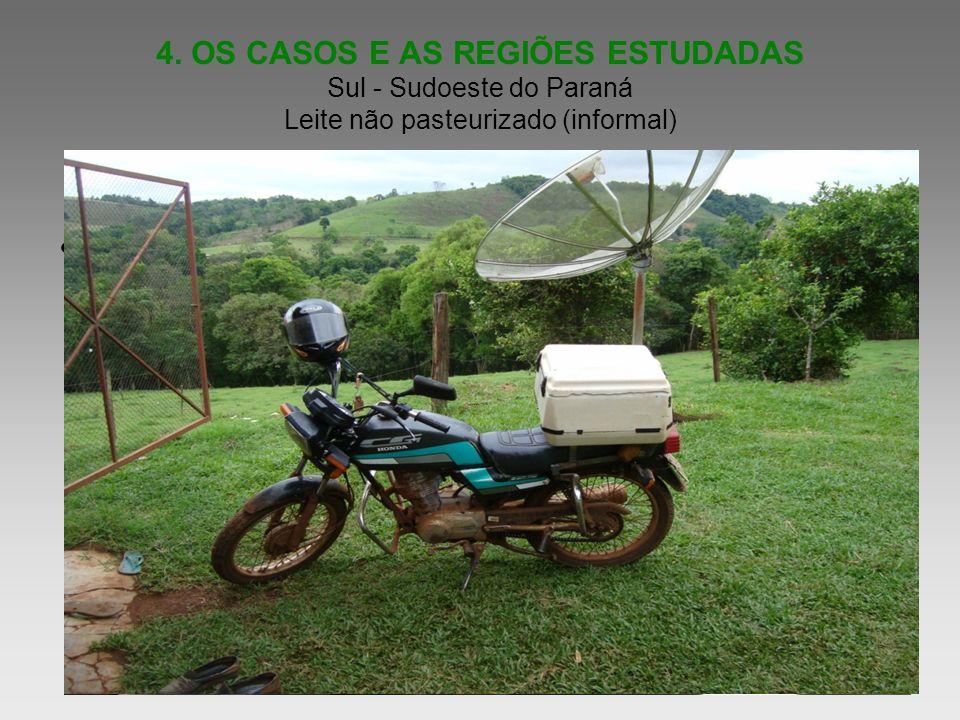 4. OS CASOS E AS REGIÕES ESTUDADAS Sul - Sudoeste do Paraná Leite não pasteurizado (informal) Informe as idéias principais de sua apresentação