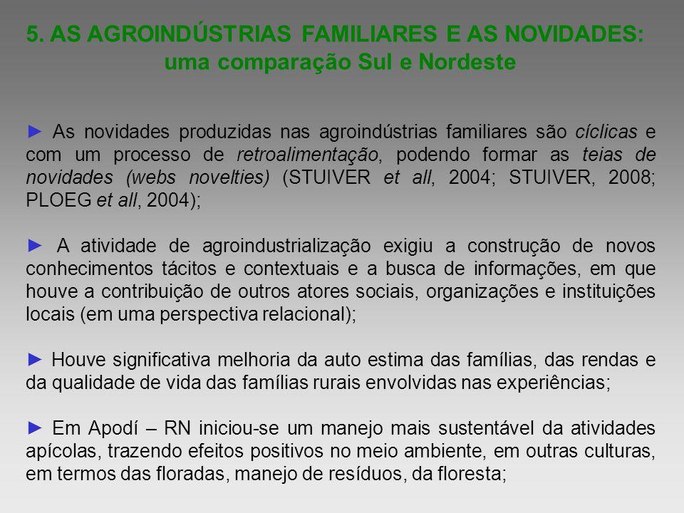 5. AS AGROINDÚSTRIAS FAMILIARES E AS NOVIDADES: uma comparação Sul e Nordeste As novidades produzidas nas agroindústrias familiares são cíclicas e com