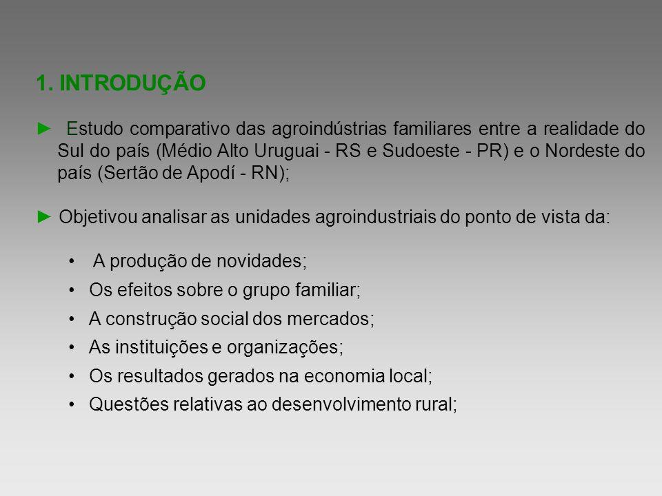 1. INTRODUÇÃO Estudo comparativo das agroindústrias familiares entre a realidade do Sul do país (Médio Alto Uruguai - RS e Sudoeste - PR) e o Nordeste
