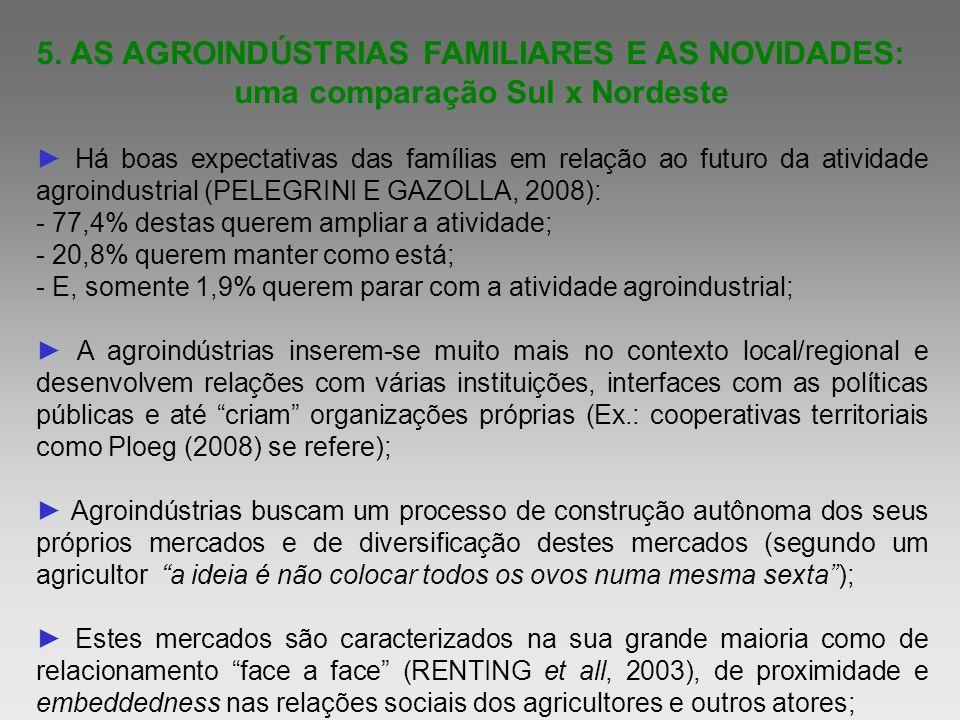 5. AS AGROINDÚSTRIAS FAMILIARES E AS NOVIDADES: uma comparação Sul x Nordeste Há boas expectativas das famílias em relação ao futuro da atividade agro