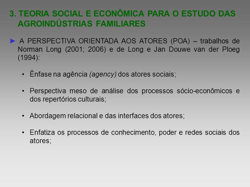 3. TEORIA SOCIAL E ECONÔMICA PARA O ESTUDO DAS AGROINDÚSTRIAS FAMILIARES A PERSPECTIVA ORIENTADA AOS ATORES (POA) – trabalhos de Norman Long (2001; 20