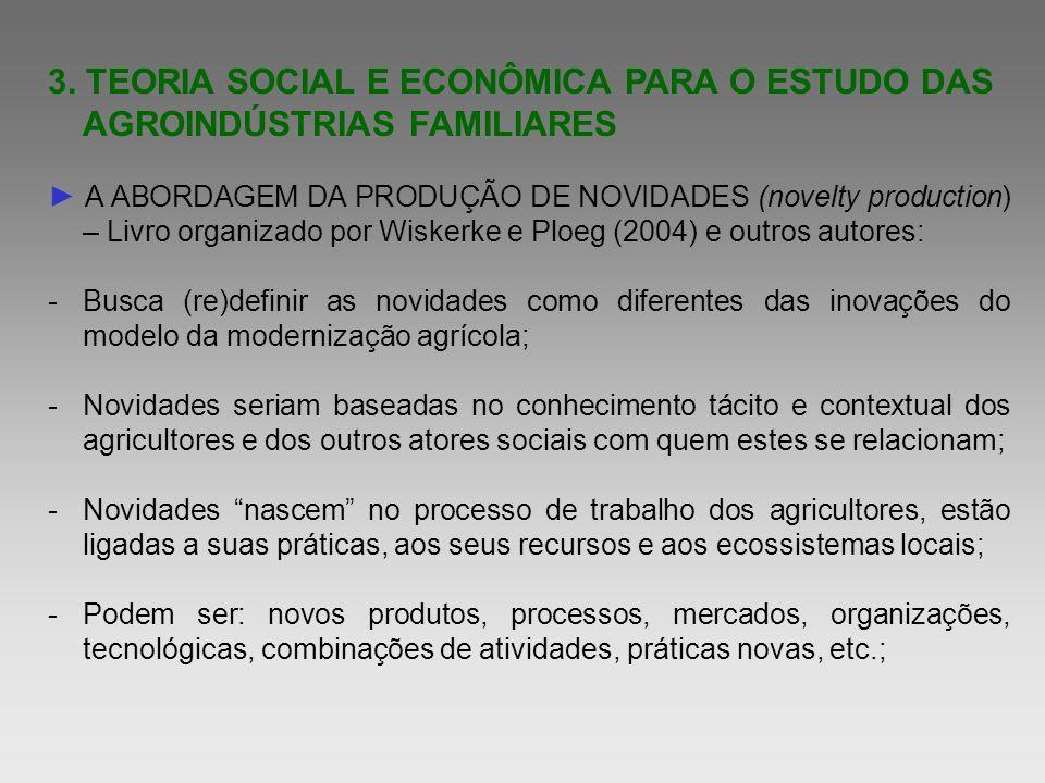 3. TEORIA SOCIAL E ECONÔMICA PARA O ESTUDO DAS AGROINDÚSTRIAS FAMILIARES A ABORDAGEM DA PRODUÇÃO DE NOVIDADES (novelty production) – Livro organizado