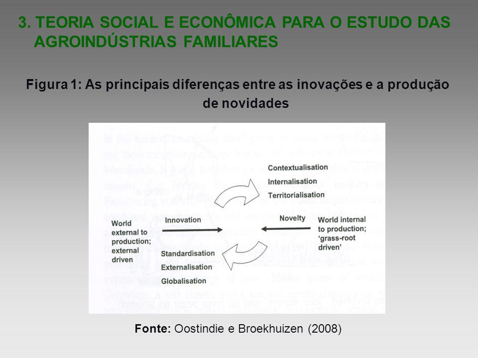 3. TEORIA SOCIAL E ECONÔMICA PARA O ESTUDO DAS AGROINDÚSTRIAS FAMILIARES Figura 1: As principais diferenças entre as inovações e a produção de novidad