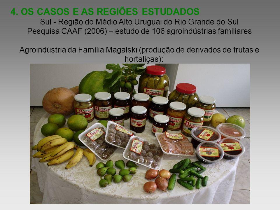 4. OS CASOS E AS REGIÕES ESTUDADOS Sul - Região do Médio Alto Uruguai do Rio Grande do Sul Pesquisa CAAF (2006) – estudo de 106 agroindústrias familia