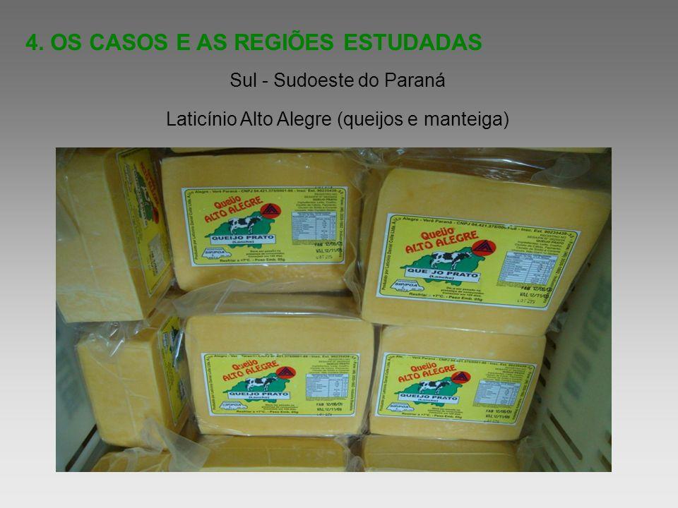 4. OS CASOS E AS REGIÕES ESTUDADAS Sul - Sudoeste do Paraná Laticínio Alto Alegre (queijos e manteiga)