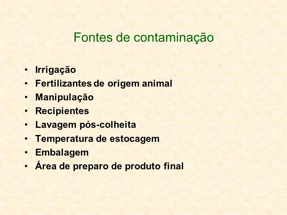 Fontes de contaminação Irrigação Fertilizantes de origem animal Manipulação Recipientes Lavagem pós-colheita Temperatura de estocagem Embalagem Área d