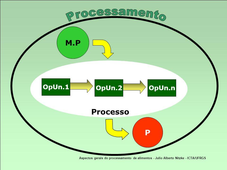Aspectos gerais do processamento de alimentos - Julio Alberto Nitzke - ICTA/UFRGS OpUn.1 OpUn.2OpUn.n M.P P Processo