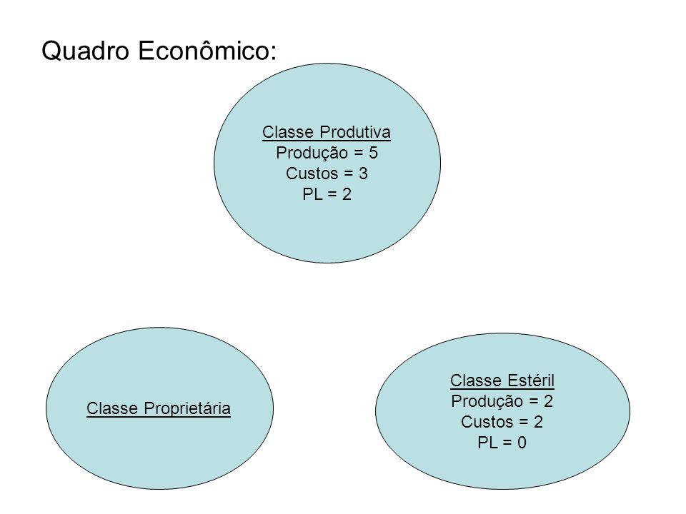Quadro Econômico: Classe Produtiva Produção = 5 Custos = 3 PL = 2 Classe Proprietária Classe Estéril Produção = 2 Custos = 2 PL = 0