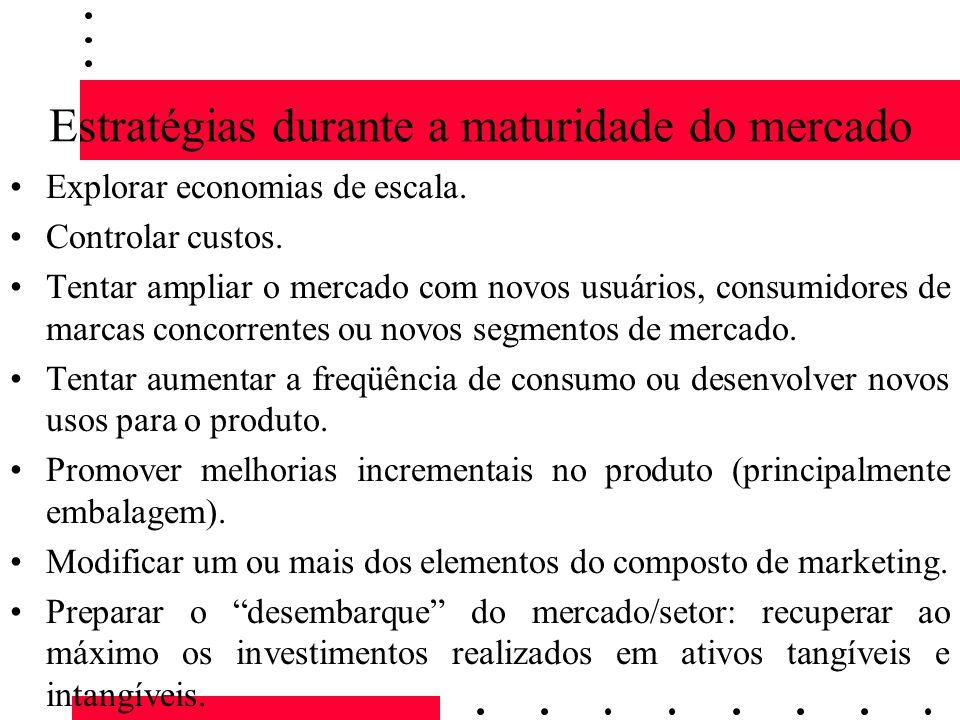 Estratégias durante a maturidade do mercado Explorar economias de escala. Controlar custos. Tentar ampliar o mercado com novos usuários, consumidores