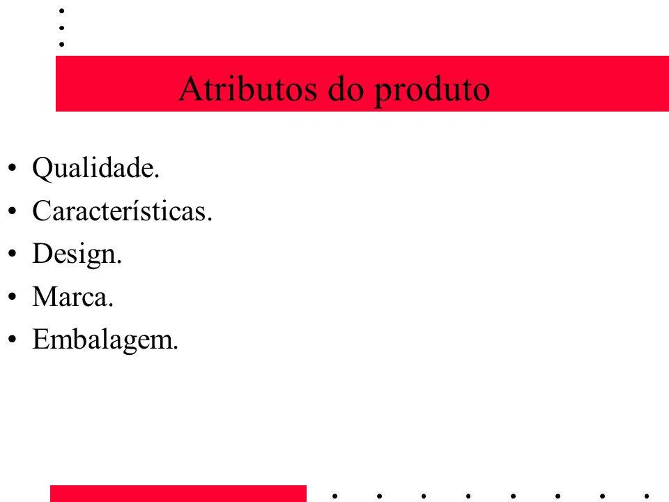 Atributos do produto Qualidade. Características. Design. Marca. Embalagem.