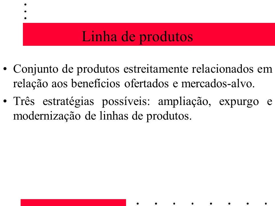 Linha de produtos Conjunto de produtos estreitamente relacionados em relação aos benefícios ofertados e mercados-alvo. Três estratégias possíveis: amp