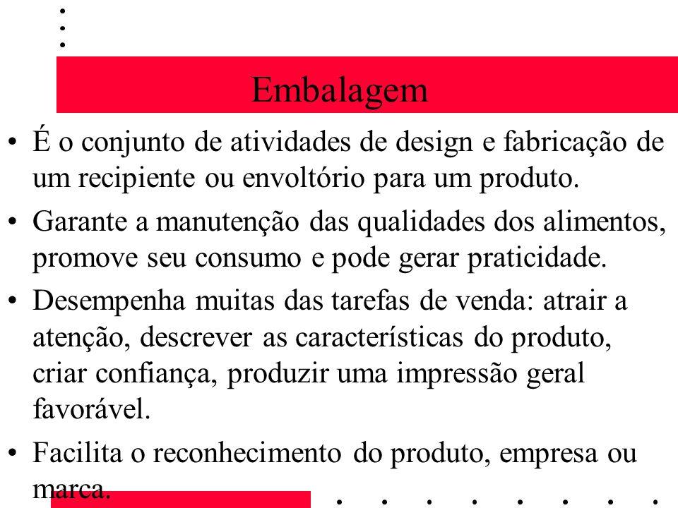 Embalagem É o conjunto de atividades de design e fabricação de um recipiente ou envoltório para um produto. Garante a manutenção das qualidades dos al