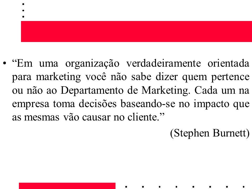 Em uma organização verdadeiramente orientada para marketing você não sabe dizer quem pertence ou não ao Departamento de Marketing. Cada um na empresa