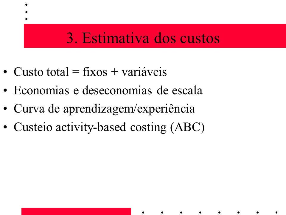 3. Estimativa dos custos Custo total = fixos + variáveis Economias e deseconomias de escala Curva de aprendizagem/experiência Custeio activity-based c