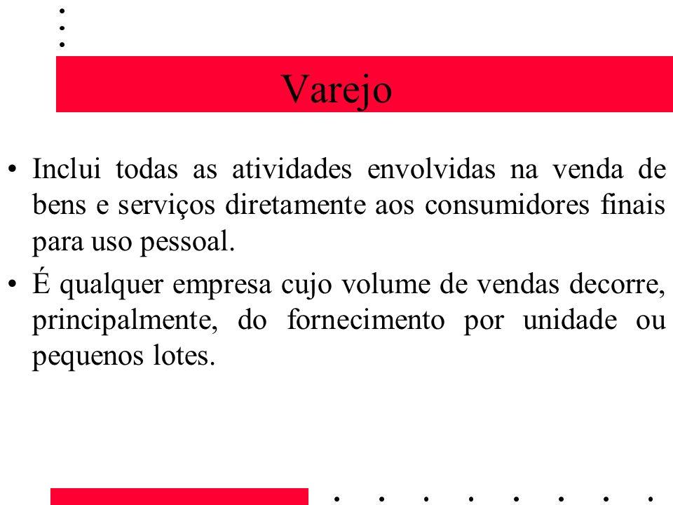 Varejo Inclui todas as atividades envolvidas na venda de bens e serviços diretamente aos consumidores finais para uso pessoal. É qualquer empresa cujo