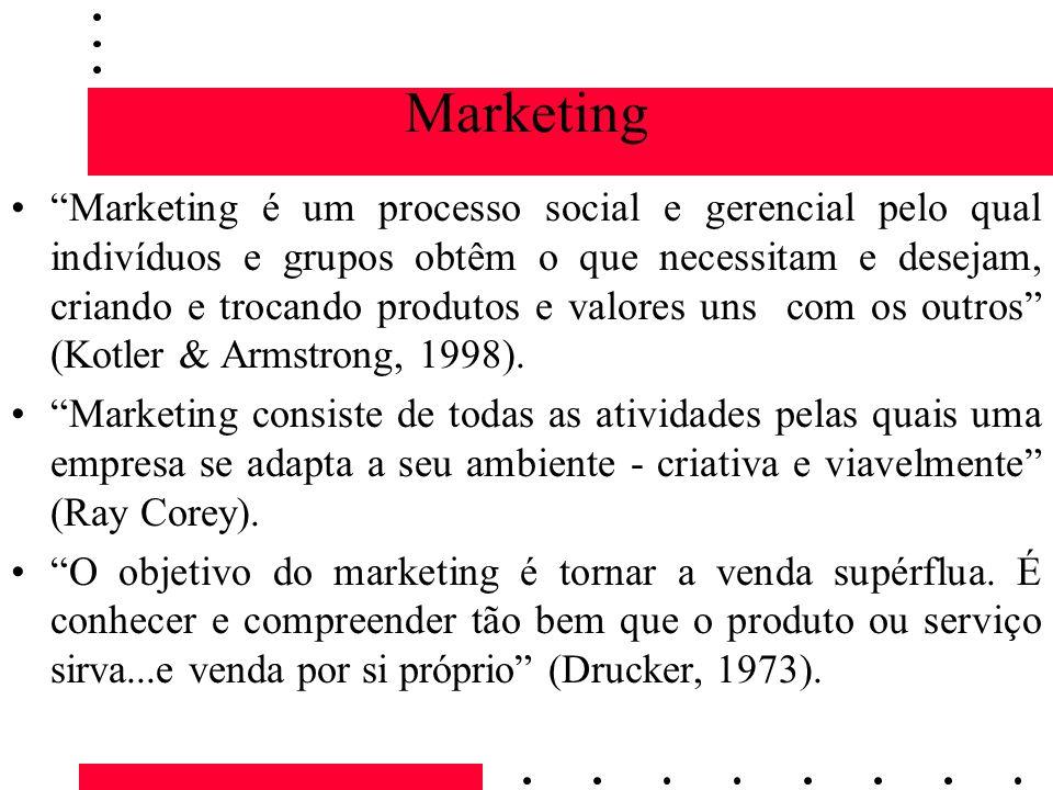 Marketing Marketing é um processo social e gerencial pelo qual indivíduos e grupos obtêm o que necessitam e desejam, criando e trocando produtos e val