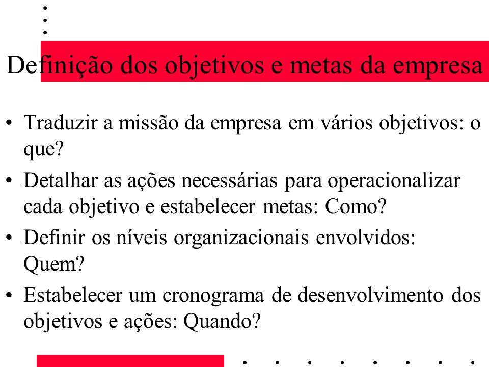 Definição dos objetivos e metas da empresa Traduzir a missão da empresa em vários objetivos: o que? Detalhar as ações necessárias para operacionalizar