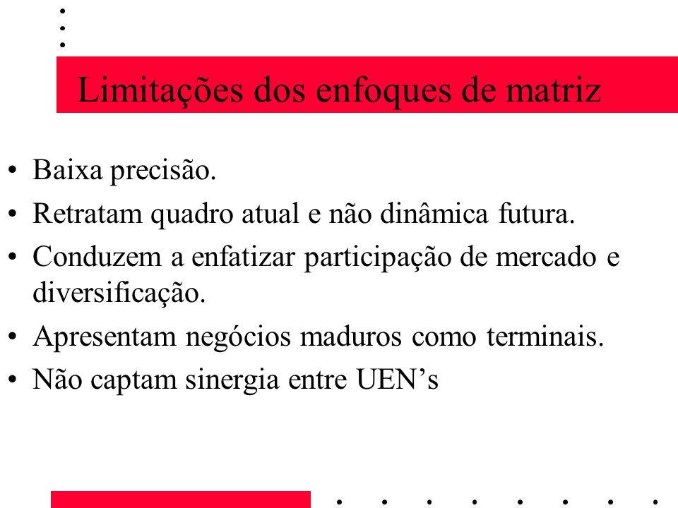 Limitações dos enfoques de matriz Baixa precisão. Retratam quadro atual e não dinâmica futura. Conduzem a enfatizar participação de mercado e diversif