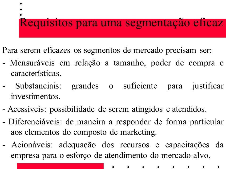Requisitos para uma segmentação eficaz Para serem eficazes os segmentos de mercado precisam ser: - Mensuráveis em relação a tamanho, poder de compra e