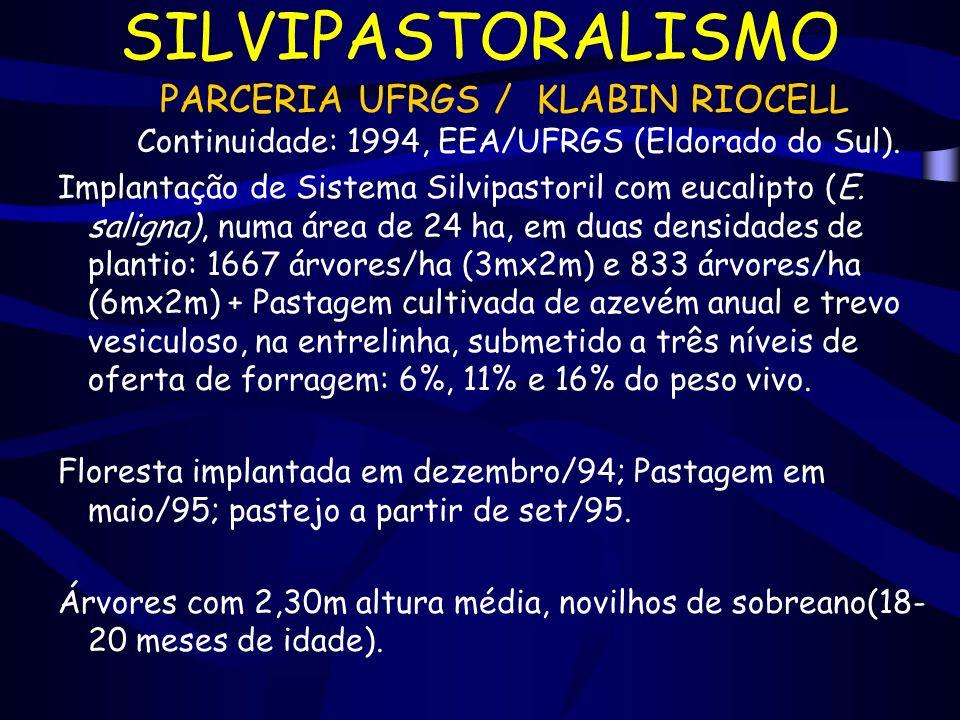SILVIPASTORALISMO PARCERIA UFRGS / KLABIN RIOCELL Continuidade: 1994, EEA/UFRGS (Eldorado do Sul). Implantação de Sistema Silvipastoril com eucalipto