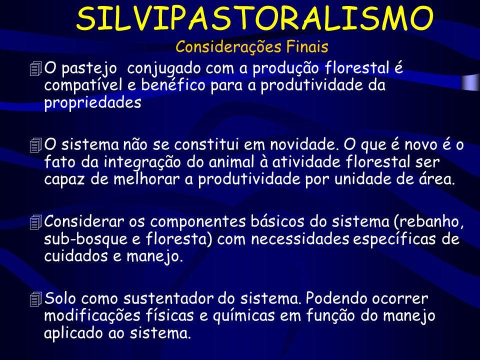 SILVIPASTORALISMO Considerações Finais 4O pastejo conjugado com a produção florestal é compatível e benéfico para a produtividade da propriedades 4O s