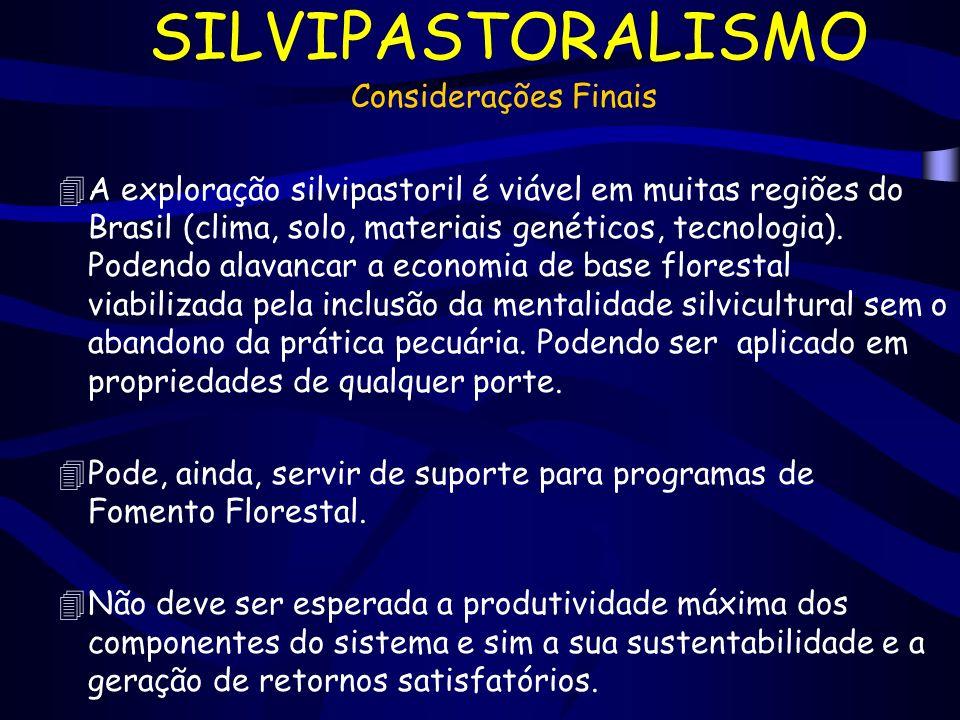 SILVIPASTORALISMO Considerações Finais 4A exploração silvipastoril é viável em muitas regiões do Brasil (clima, solo, materiais genéticos, tecnologia)
