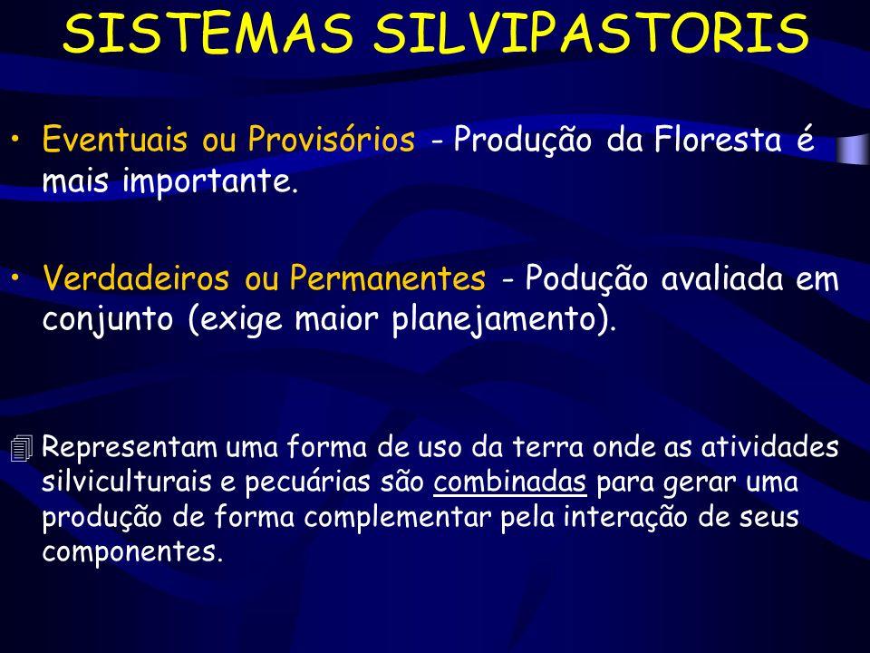 SISTEMAS SILVIPASTORIS Eventuais ou Provisórios - Produção da Floresta é mais importante. Verdadeiros ou Permanentes - Podução avaliada em conjunto (e