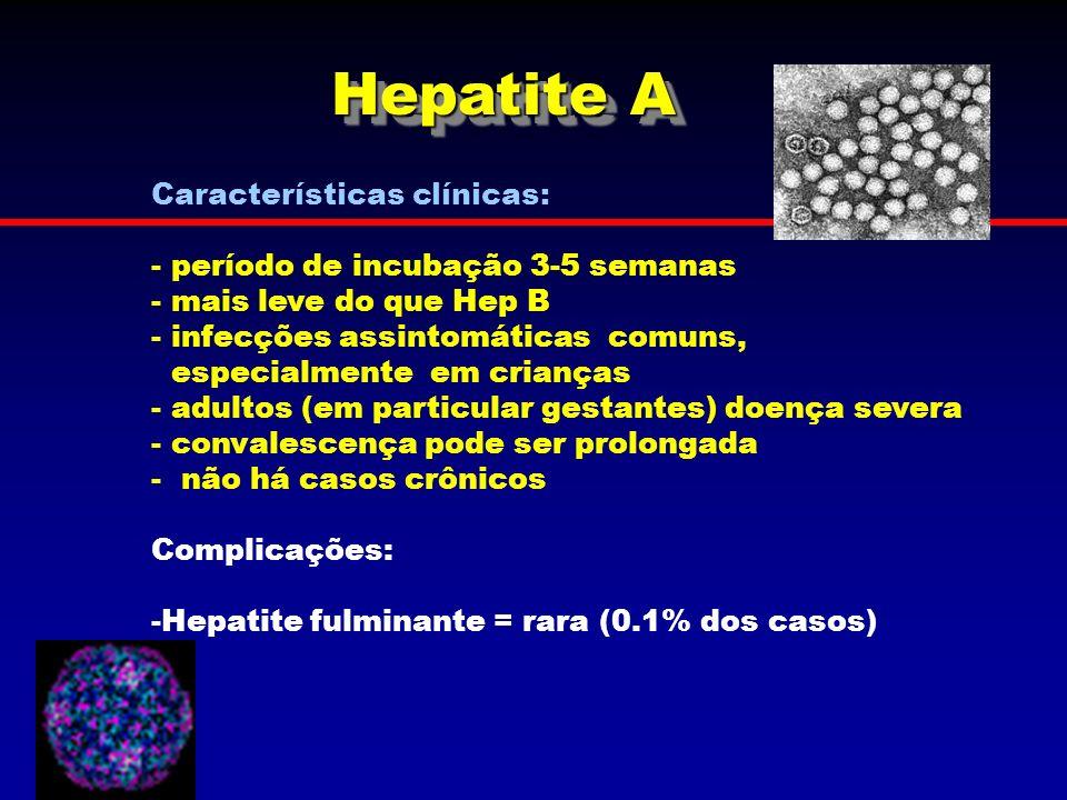Hepatite A Características clínicas: - período de incubação 3-5 semanas - mais leve do que Hep B - infecções assintomáticas comuns, especialmente em c