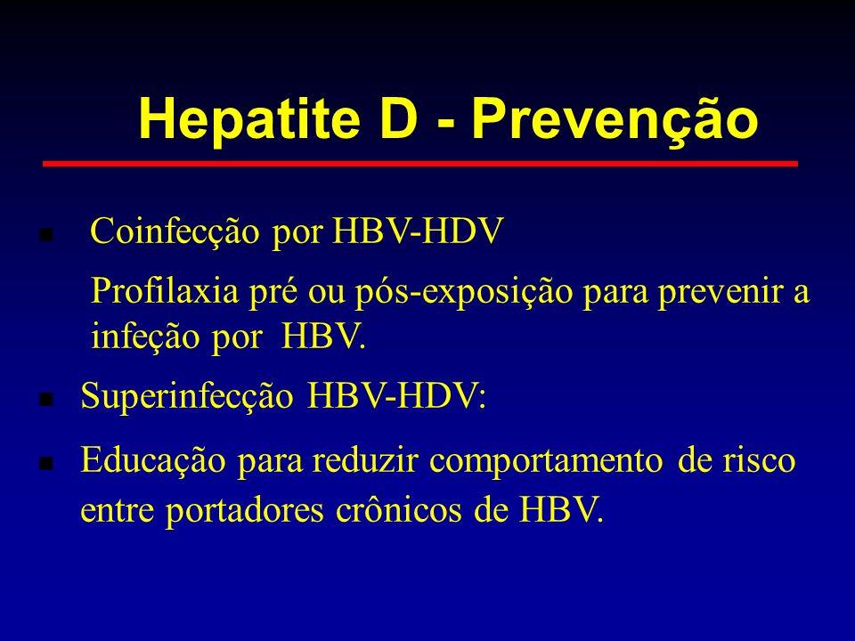Coinfecção por HBV-HDV Profilaxia pré ou pós-exposição para prevenir a infeção por HBV. Superinfecção HBV-HDV: Educação para reduzir comportamento de