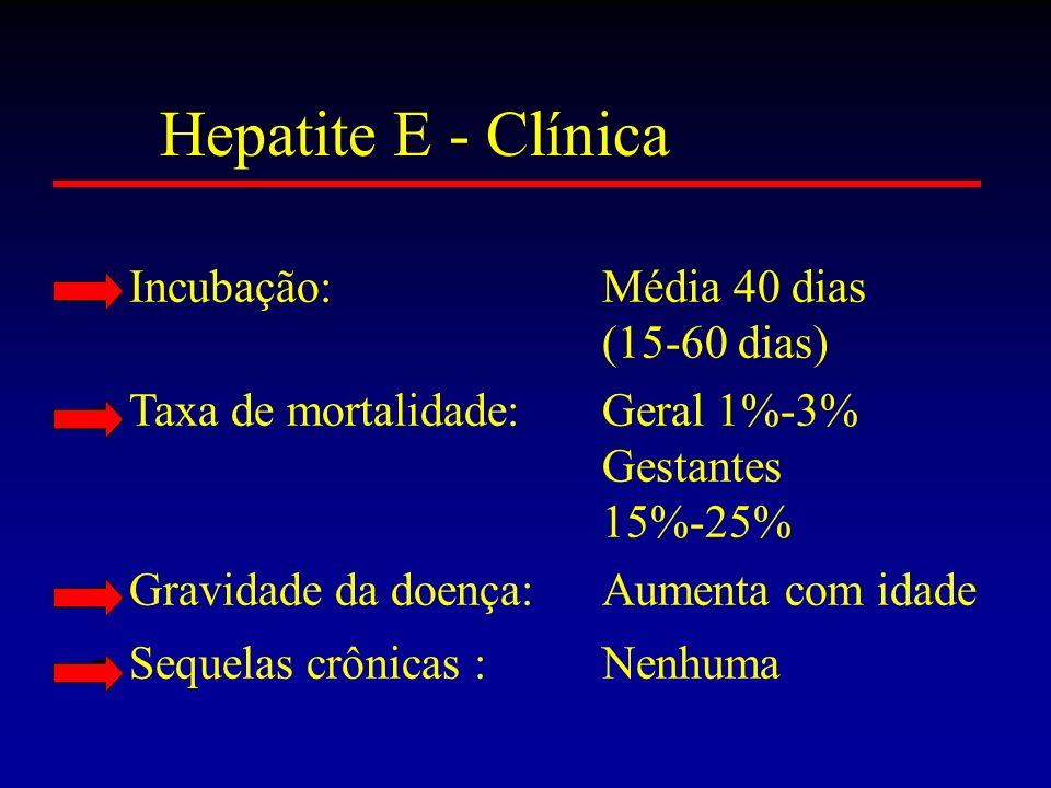 Incubação:Média 40 dias (15-60 dias) Taxa de mortalidade:Geral 1%-3% Gestantes 15%-25% Gravidade da doença:Aumenta com idade Sequelas crônicas :Nenhum
