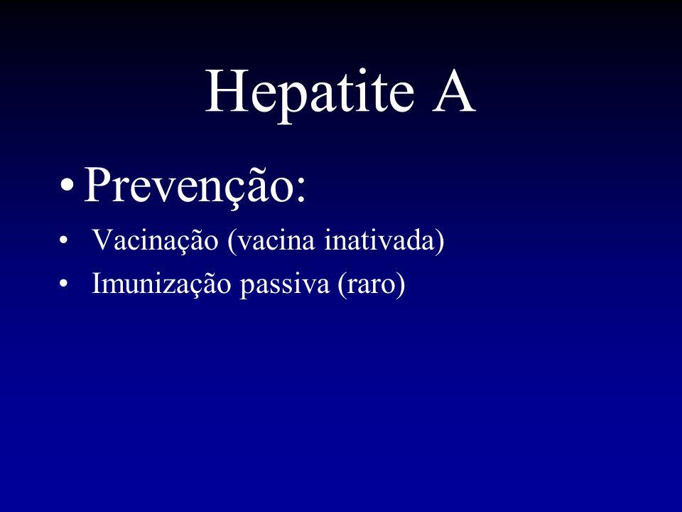 Prevenção: Vacinação (vacina inativada) Imunização passiva (raro)