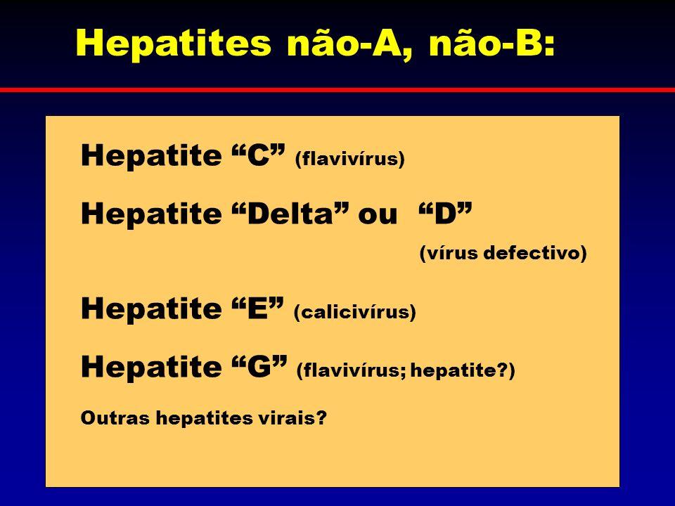 Hepatites não-A, não-B: Hepatite C (flavivírus) Hepatite Delta ou D (vírus defectivo) Hepatite E (calicivírus) Hepatite G (flavivírus; hepatite?) Outr