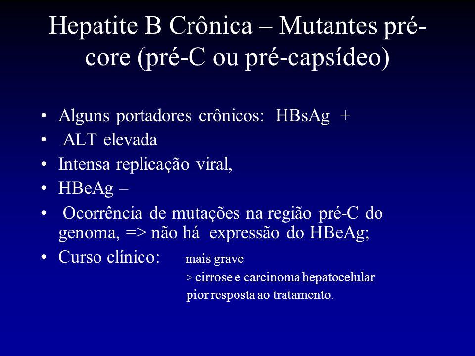 Hepatite B Crônica – Mutantes pré- core (pré-C ou pré-capsídeo) Alguns portadores crônicos: HBsAg + ALT elevada Intensa replicação viral, HBeAg – Ocor