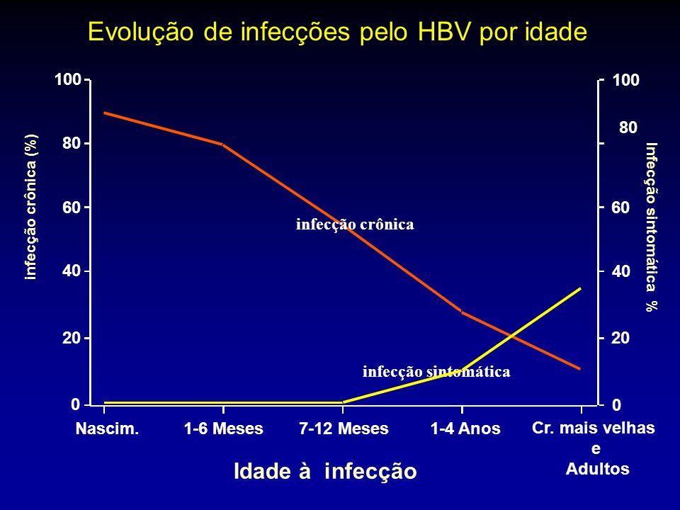infecção sintomática infecção crônica Idade à infecção Infecção sintomática % Nascim. 1-6 Meses7-12 Meses 1-4 Anos Cr. mais velhas e Adultos 0 20 40 6